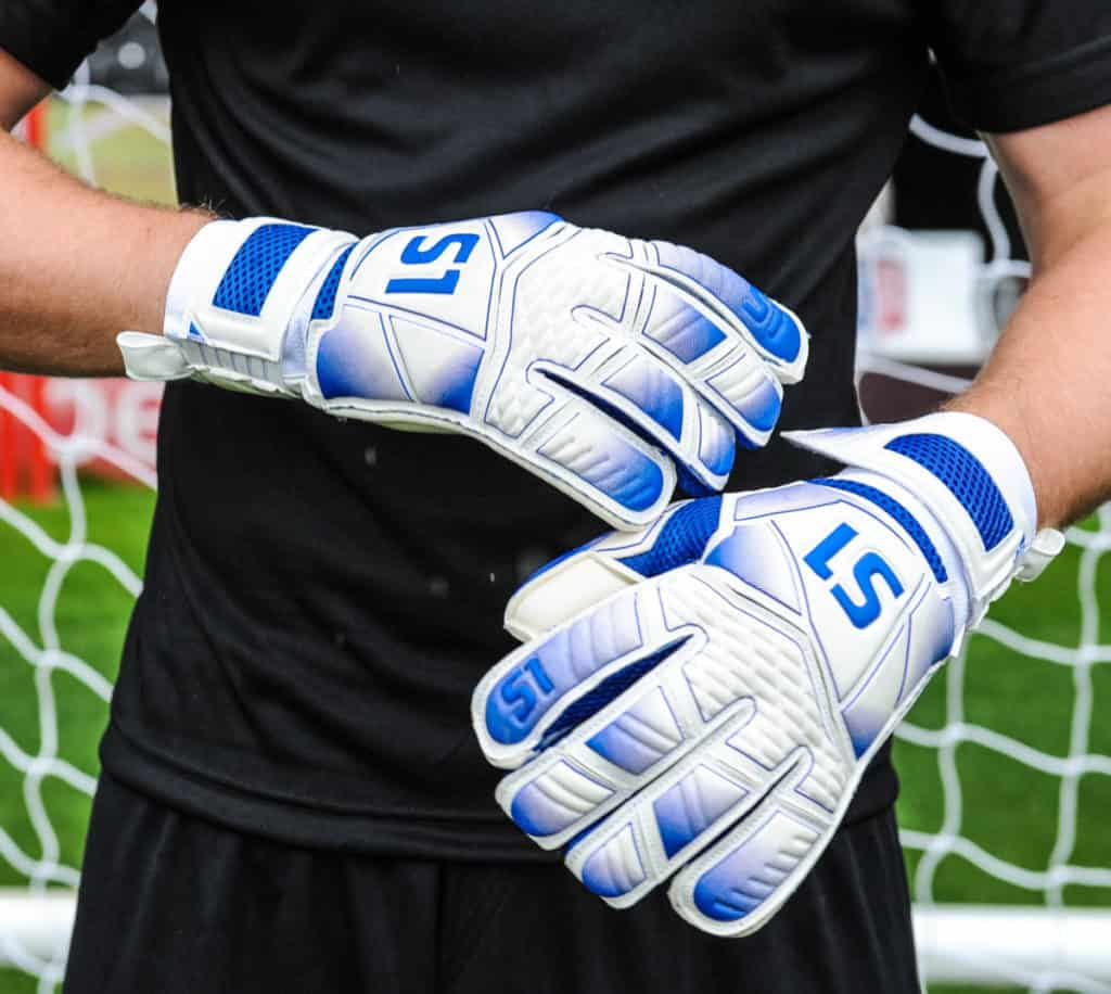 white goalkeeper gloves with number 51 on