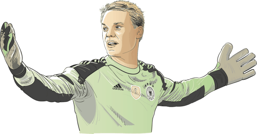 color drawing of goalkeeper