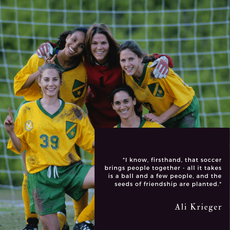 Ali Krieger quote about soccer bringing people together