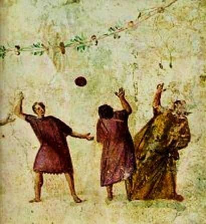 Ancient Roman picture men playing with ball