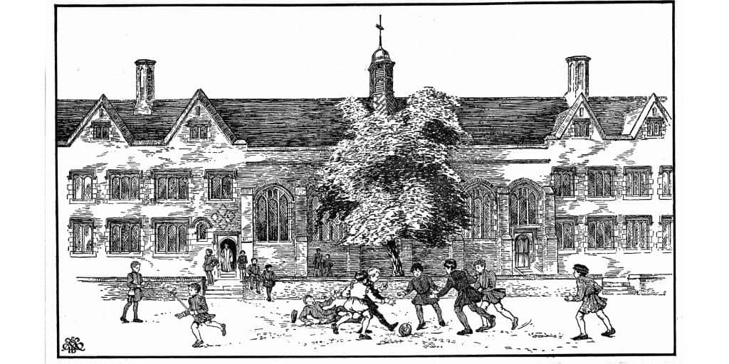 historical drawing of people playing soccer