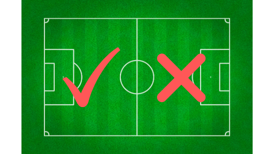 image showing the attacking half of a soccer field