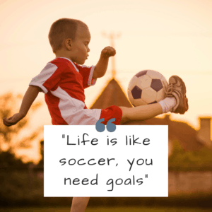 "short soccer quote - ""Life is like soccer, you need goals"""