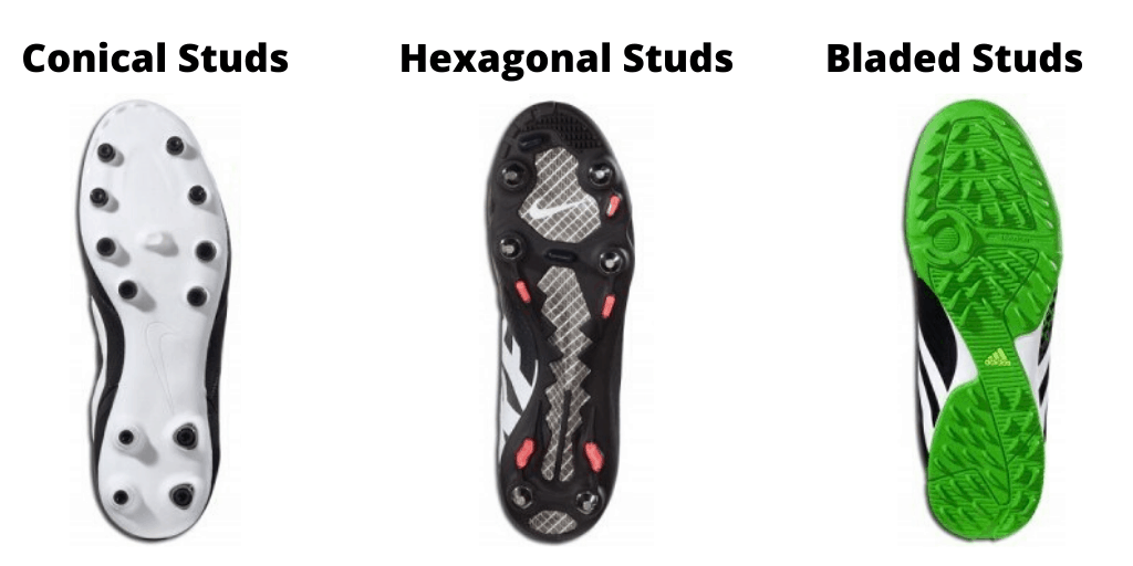 Different types of soccer cleat studs