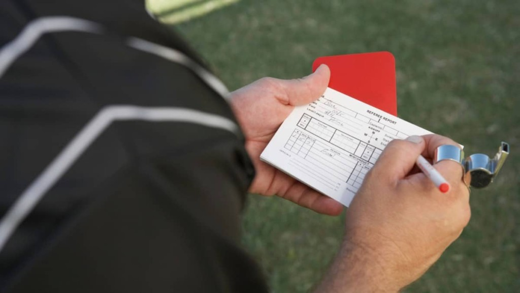 refereeing issuing red card