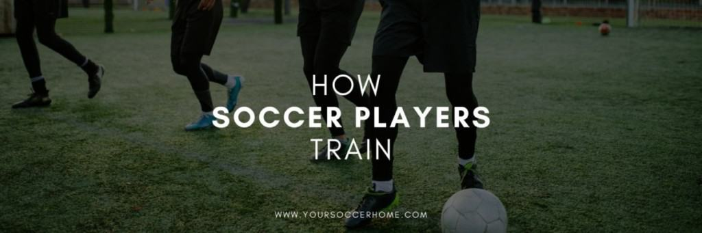 soccer player training behind header image