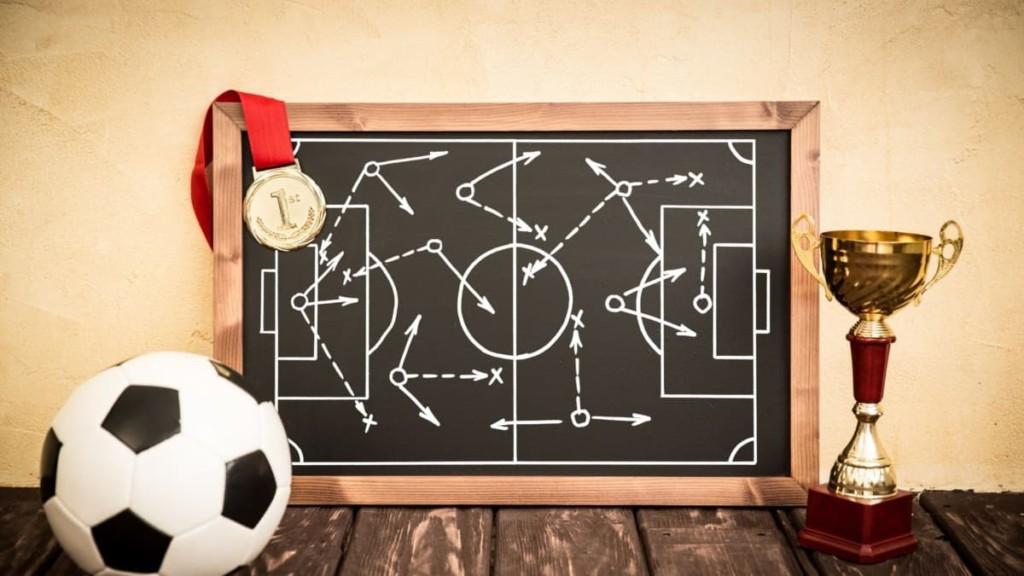 soccer tactics on blackboard