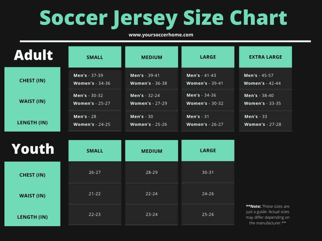Soccer jersey size guide for men, women, and youth