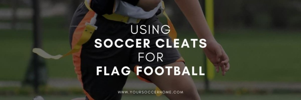 image of flag football player behind post title