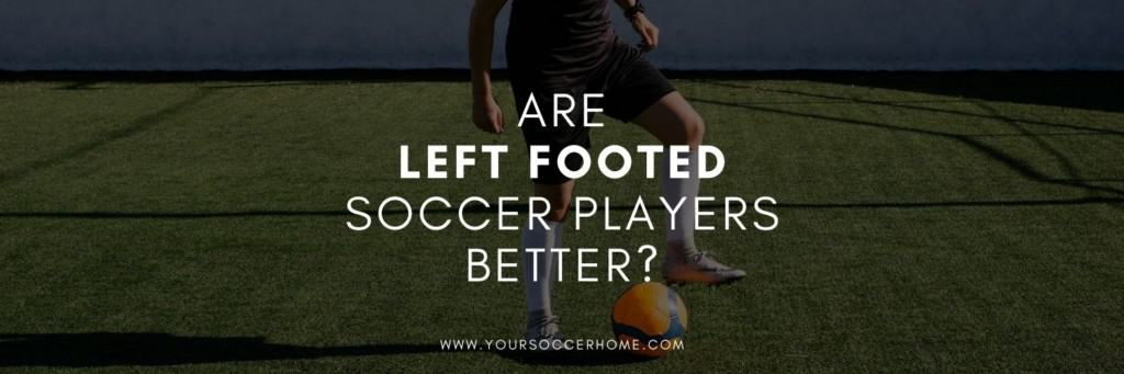 left footed soccer player behind post title text