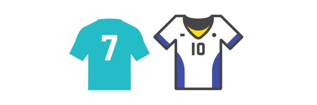 Most popular soccer jersey numbers 7 and 10