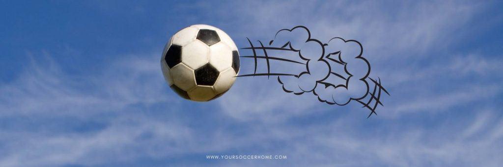 soccer ball travelling through the air