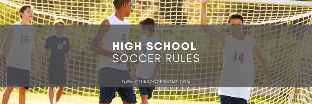 High school soccer post title over soccer players