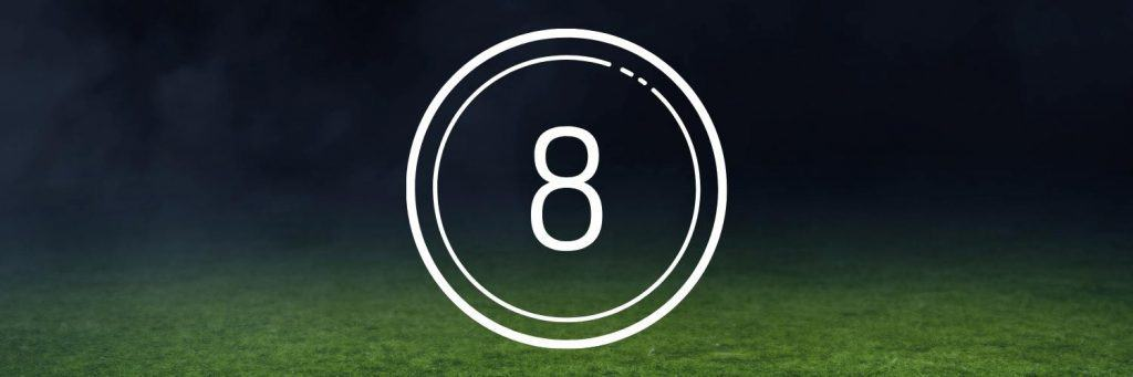 number 8  on soccer field