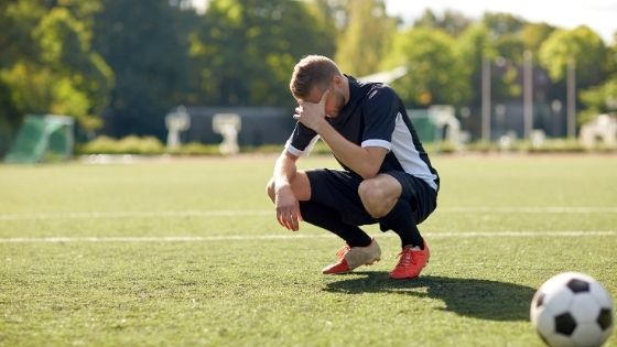 Soccer player after being relegated