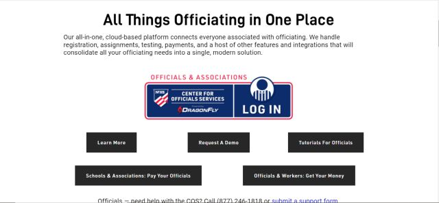 screenshot of webpage to register as an NFHS official