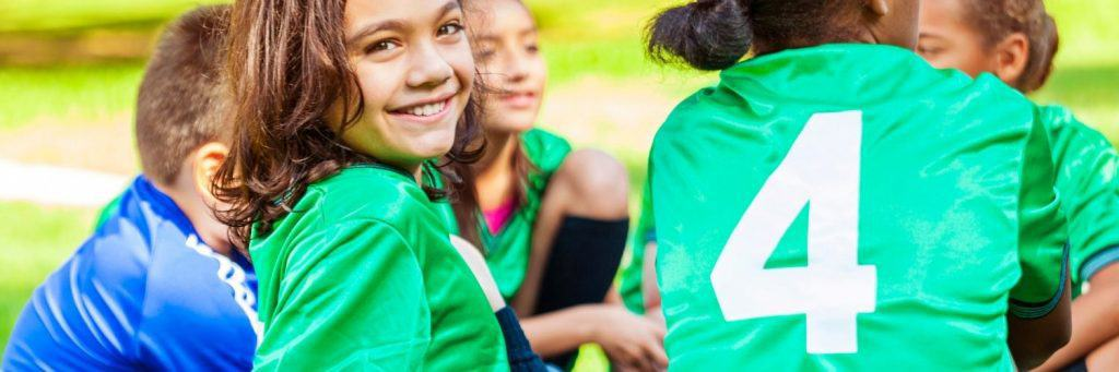 Youth soccer player smiling